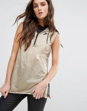 Nike – Sweat à capuche sans manches avec maille filet – Kaki beige – Vert