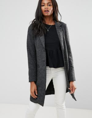 Only – Blazer long en laine – Gris