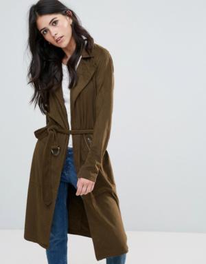 Only – Jennifer – Trench-coat long en imitation daim – Vert