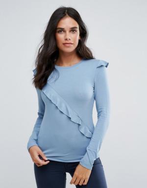Only – Lise – T-shirt à manches longues avec volants sur les côtés – Bleu