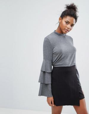 Only – Top avec manches cloche à volants – Gris
