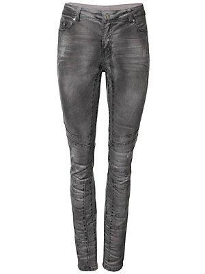 Pantalon boyfriend taille basse, style motard femme B.C. Best Connections gris