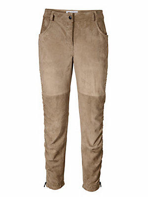 Pantalon en cuir, chevreau velours femme Rick Cardona écru