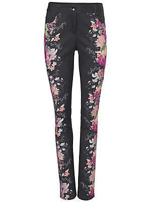 Pantalon imprimé fleuri noir et rose femme Ashley Brooke noir