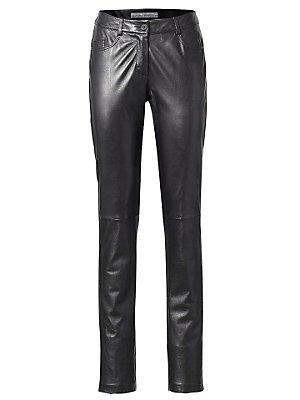 Pantalon slim en cuir noir femme Ashley Brooke noir