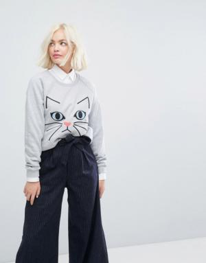 Paul & Joe Sister – Sweat-shirt à broderie motif chat – Gris