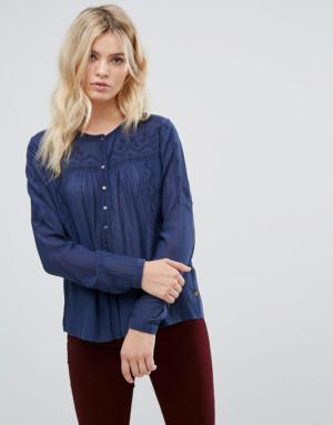 Pepe Jeans – Bete – Blouse avec empiècements brodés – Bleu