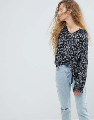 Pepe Jeans – Blouse à petites fleurs – Bleu