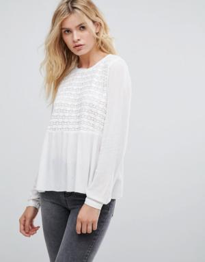 Pepe Jeans – Gaynor – Blouse brodée sur le devant – Blanc