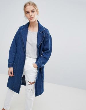 Pepe Jeans – Kimmie – Veste drapée style kimono en jean – Bleu