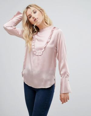 Pepe Jeans – Label Dusk – Blouse en satin à volants – Doré – Rose