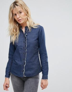Pepe Jeans – Lennie – Chemise en jean sans col – Bleu
