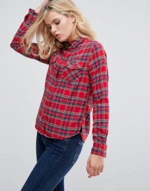 Pepe Jeans – Lua – Chemise à carreaux – Rouge