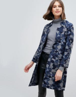 Pepe Jeans – Manteau oversize géométrique en laine mélangée – Multi