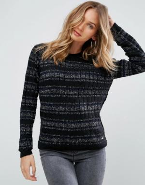Pepe Jeans – Osha – Pul en laine d'alpaga mélangée avec fil métallisé – Noir