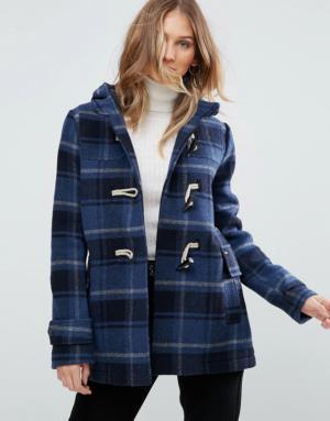Pepe Jeans – Pearl – Duffle-coat à carreaux en laine mélangée – Navy