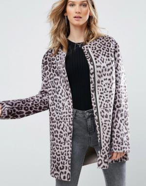 Pepe Jeans – Waver – Manteau sans col motif léopard – Marron
