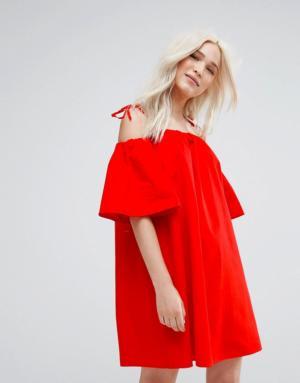 Pimkie – Robe babydoll à épaules nues – Rouge