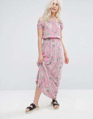 Pimkie – Robe longue à imprimé palmiers – Rose