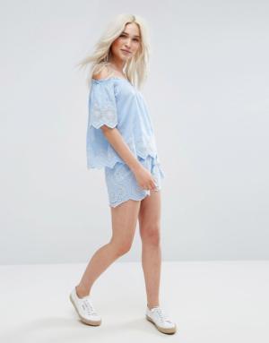 Pimkie – Short à motif ajouré – Bleu