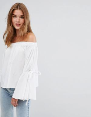Pimkie – Top à épaules dénudées avec liens aux manches – Blanc