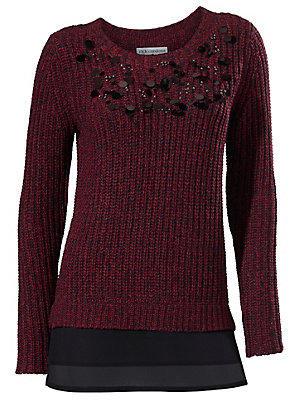 Pull en tricot à paillettes et base en voile femme Rick Cardona rouge