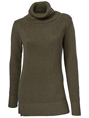 Pull long en tricot à col roulé, zips côtés femme B.C. Best Connections vert