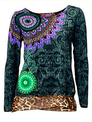 Pull-over en tricot fin femme Desigual vert