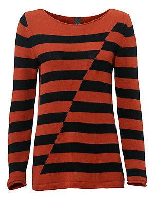 Pull-over rayé femme, style asymétrique femme B.C. Best Connections orange