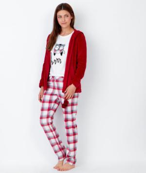 Pyjama 3 pièces chouette pantalon à carreaux et veste toucher polaire Etam
