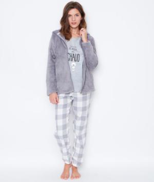 Pyjama 3 pièces, haut imprimé, bas à carreaux Etam