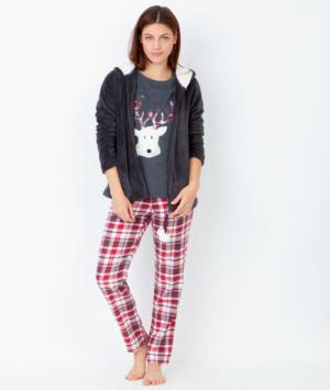Pyjama 3 pièces, pantalon à carreaux et veste toucher polaire Etam