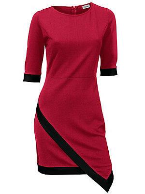 Robe courte fourreau à manches 3/4, forme asymétrique femme Rick Cardona rouge
