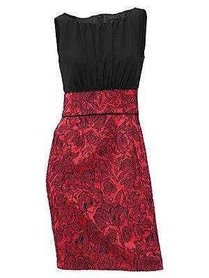 Robe de cocktail glamour sans manches en tissu Jacquard femme Ashley Brooke rouge
