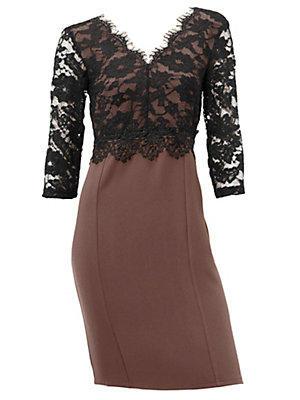 Robe de soirée bi matière avec haut en dentelle fine femme Ashley Brooke noir
