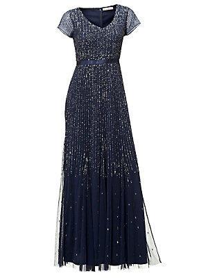 Robe de soirée à paillettes bleu marine femme Ashley Brooke bleu