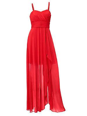 Robe de soirée longue élégante en tissu fluide uni femme Ashley Brooke rouge