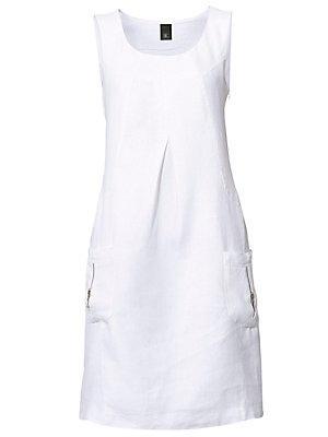 Robe en lin sans manches, à col drapé et poches femme B.C. Best Connections blanc