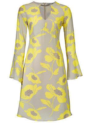 Robe imprimée fleurie jaune femme Ashley Brooke écru