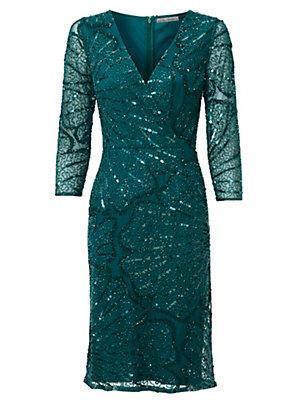 Robe pailleté vert émeraude femme Ashley Brooke vert