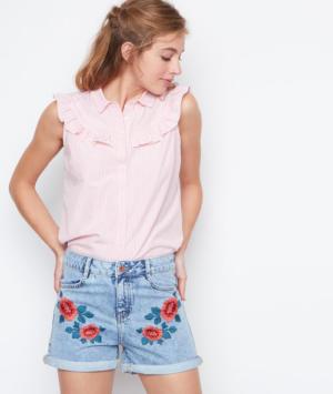 Short en jean brodé fleurs Etam
