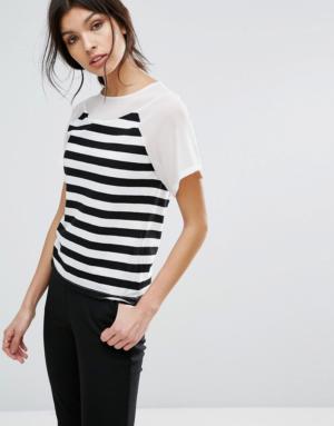 Sisley – T-Shirt à rayures avec empiècements transparents – Noir