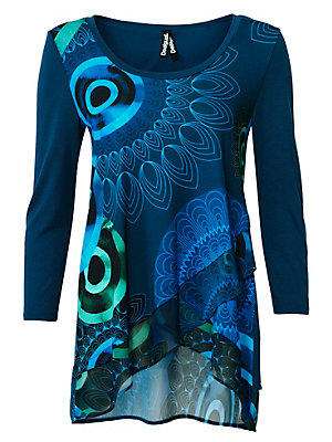 T-shirt à encolure arrondie femme Desigual bleu