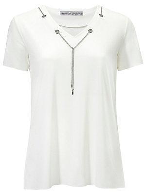 T-shirt à encolure en V femme Ashley Brooke blanc
