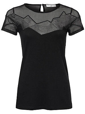 T-shirt à encolure arrondie femme Rick Cardona noir
