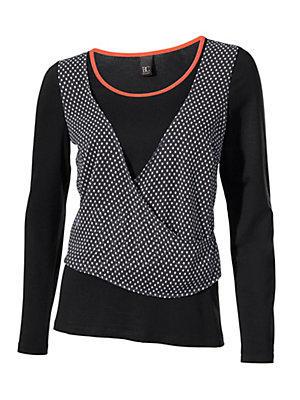 T-shirt basic femme, empiècement cache-coeur à pois femme B.C. Best Connections noir