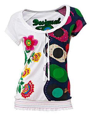 T-shirt blanc Desigual pour femme à imprimé coloré femme Desigual blanc
