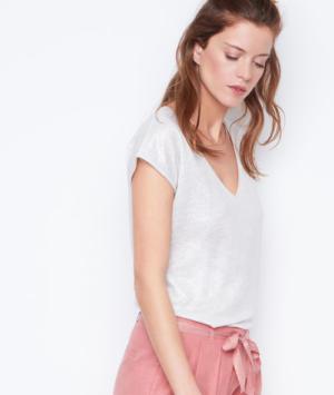 T-shirt col v effet lurex en lin Etam
