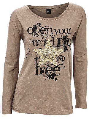 T-shirt femme imprimé graphique tendance, col rond femme B.C. Best Connections écru