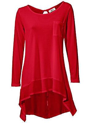 T-shirt manches longues en voile uni, coupe asymétrique femme Rick Cardona rouge